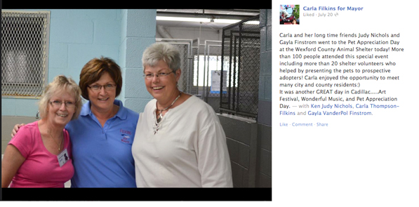 Judy Nichols, Carla Filkins and Gayla Finstrom at the animal shelter. Photo credit: Carla Filkins for Mayor Facebook page
