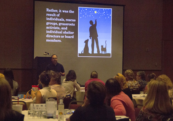 Nathan Winograd speaks at the conference. Photo credit: Pet Fund Alliance