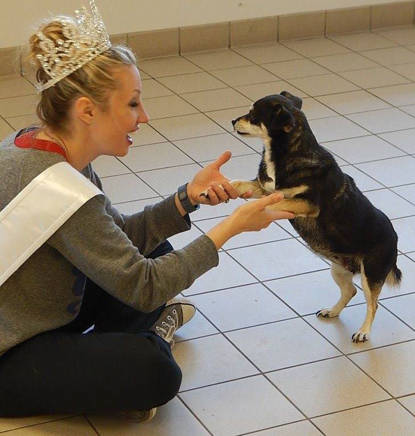 Jessica Mason with Sally, an adoptable dog at Cherryland Humane Society